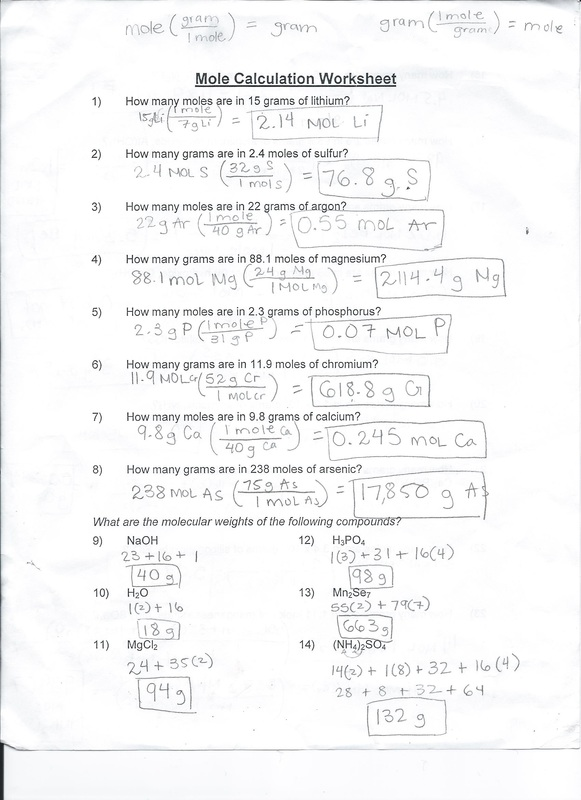 Mole Calculations Worksheet – Mole Calculation Worksheet